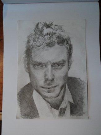 Tekening portret Jude Law