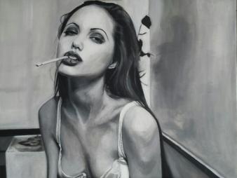 Schilderij portret Angelina Jolie