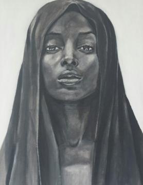 Portret zwart/wit vrouw