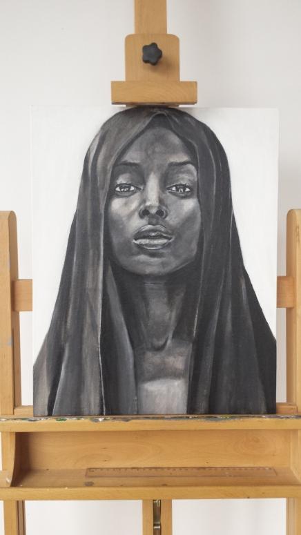 Portret vrouw zwart/wit